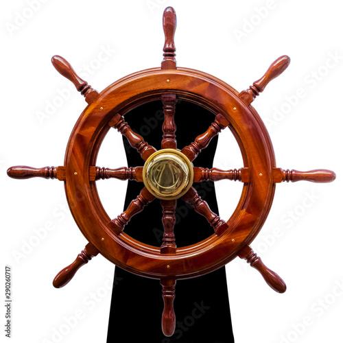Türaufkleber Schiff steering wheel isolated on white background