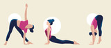 Time for yoga. Attractive women exercising.