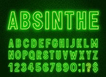 Neon Green Font, Light Alphabet With Numbers On A Dark Background.