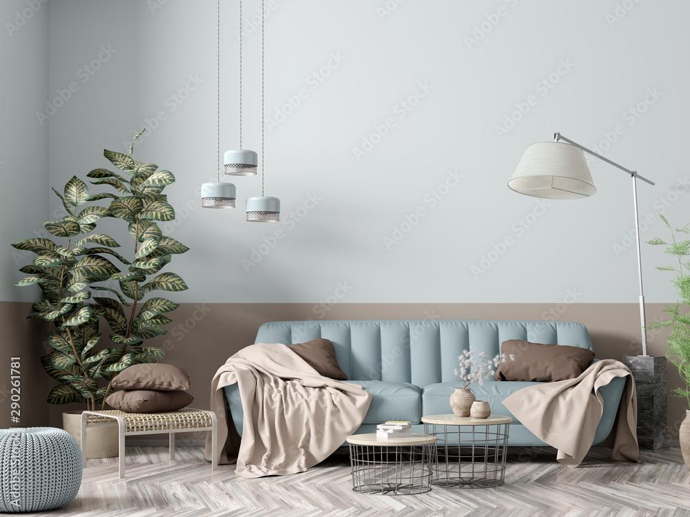 Fototapeta Interior of modern living room with blue sofa 3d rendering