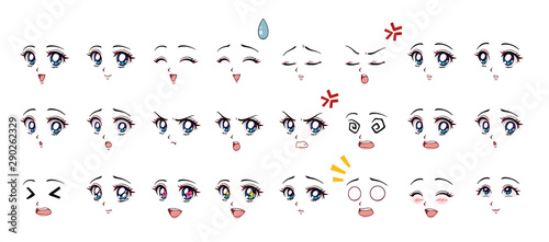 Set of cartoon anime style expressions. Different eyes, mouth, eyebrows. Blue eyes, pink lips. Hand drawn vector illustration isolated on white background. - 290262329