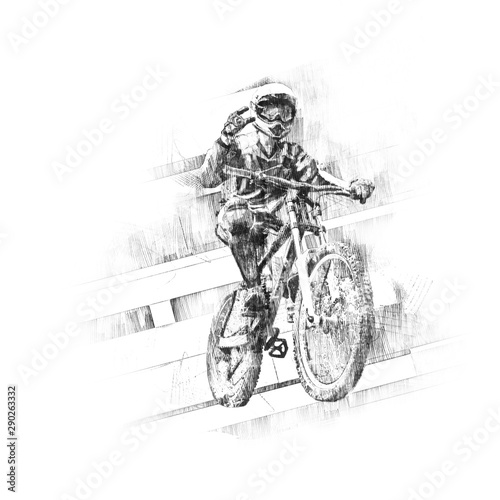 Black pencil drawing of a cyclist on a downhill Bicycle on a green background.