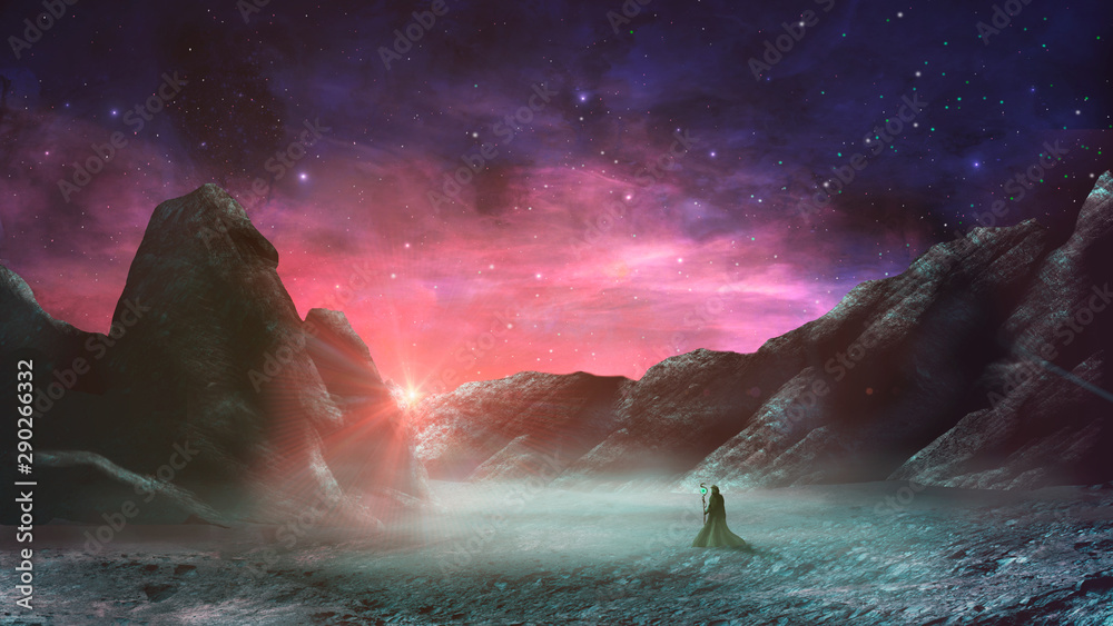 Magician standing in sci-fi magical landscape with rock valley, star and sun. Digital painting illustration. Element furnished by NASA. 3d rendering