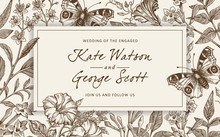 Wedding Invitation Bouquet. Butterflies Peacock Moths. Blooming Flowers Vintage Greeting Card. Frame Baroque Drawing Engraving. Jasmine Petunia Croton Isolated Wallpaper Background Vector Illustration