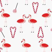 Red Flamingos With Candy. Happy New Year And Merry Christmas Seamless Pattern