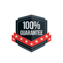 100% Guarantee Shield Label Wi...