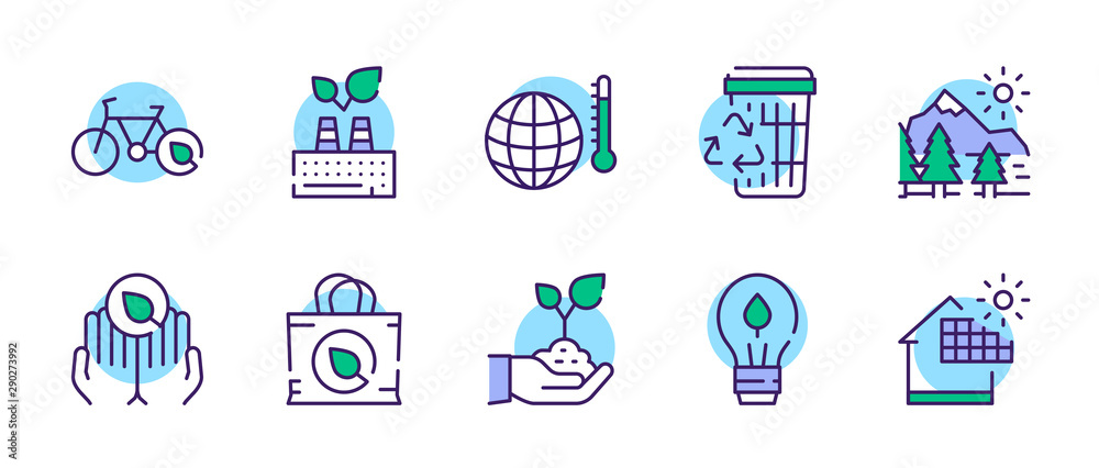 Fototapety, obrazy: Nature conservation green color linear icons set