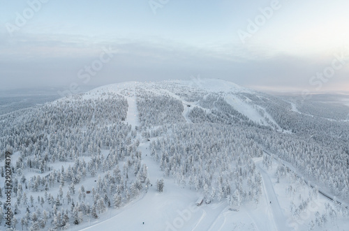 Photographie  Aerial view of Levi fell and ski resort at winter