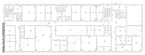 Fototapeta Architecture plan and blueprint monochrome background, vector illustration obraz