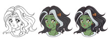 Cute Anime Zombie Girl Portrait. Three Versions: Contour, Flat Colors, Cell Shading. 90s Retro Anime Style Hand Drawn Vector Illustration. Isolated On White Background.