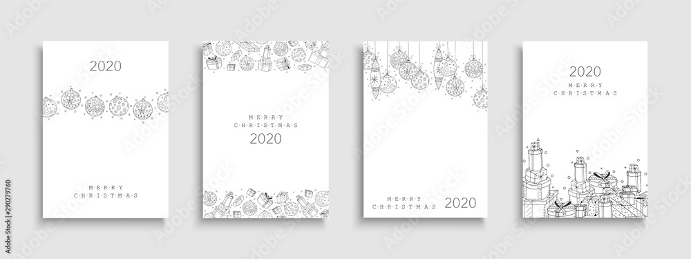 Fototapety, obrazy: Collection of Christmas cards. Creative hand drawn design with drawing xmas elements.