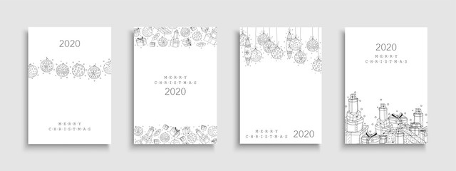 Collection of Christmas cards. Creative hand drawn design with drawing xmas elements.