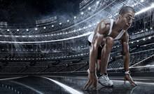 Sport. Sprinter Leaving Starti...