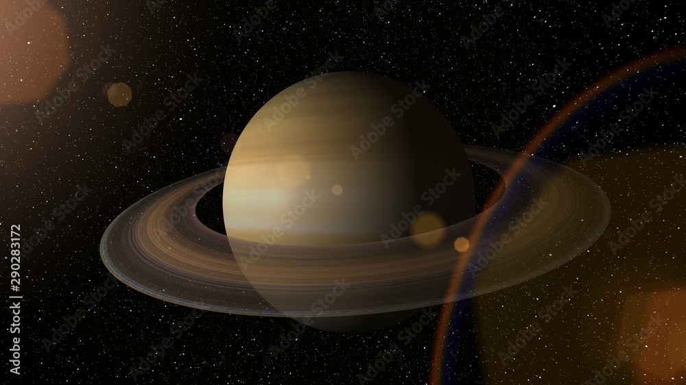 Fototapety, obrazy: Giant gas planet Saturn and rings CG animation. Realistic 3D rendering of beautiful planet Saturn with rising sun.