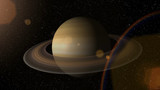 Giant gas planet Saturn and rings CG animation. Realistic 3D rendering of beautiful planet Saturn with rising sun.
