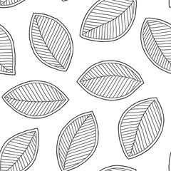 Graphic leaves seamless pattern.
