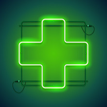Pharmacy Glowing Neon Sign With A Green Crosse Makes It Quick And Easy To Customize Your Medical Project In Neon Style.