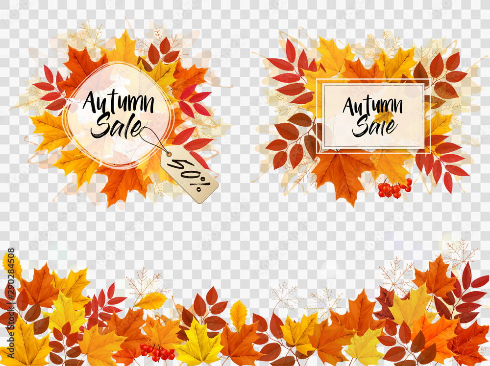 Fototapety, obrazy: Autumn Sale Card With Colorful Leaves. Vector.
