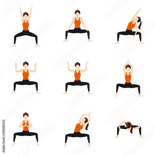 Stampa su Tela Goddess pose variations yoga asanas set/ Illustration stylized woman practicing