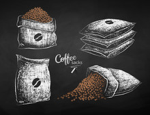 Chalk Sketches Sacks With Coffee Bean