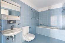 Bathroom With Vintage Blue Til...
