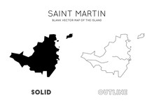 Saint Martin Map. Blank Vector Map Of The Island. Borders Of Saint Martin For Your Infographic. Vector Illustration.