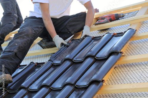 Obraz na płótnie New roof covering in progress