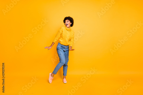 Fototapety, obrazy: Full length body size photo of charming cute nice funny black girlfriend dancing spending her free time wearing jeans denim pullover isolated vivid color background