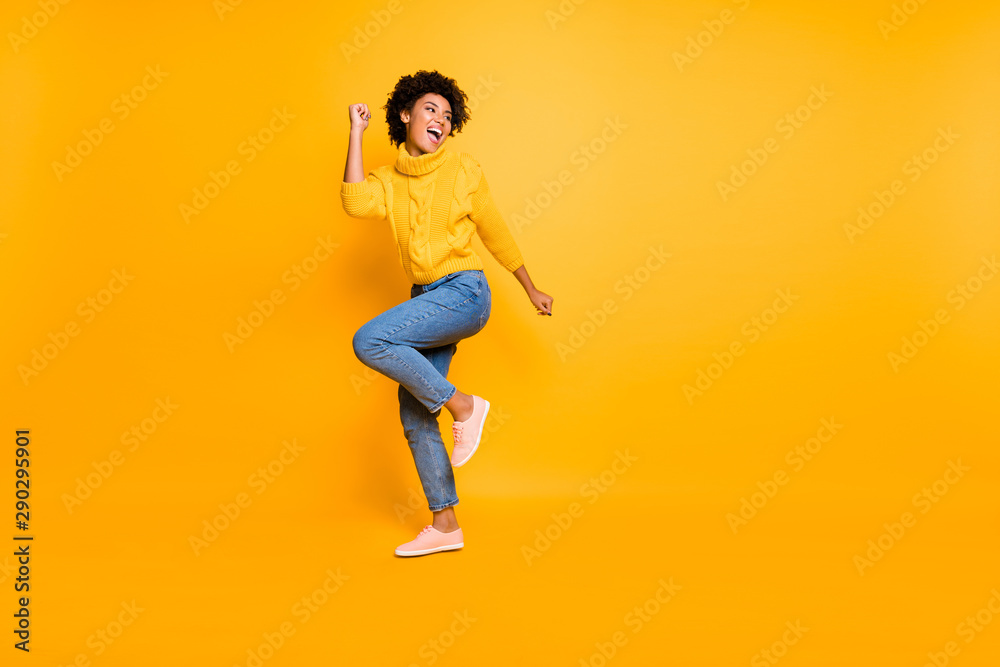 Fototapety, obrazy: Full length body size view of her she nice attractive cheerful cheery content successful wavy-haired girl having fun free time rejoicing isolated on bright vivid shine vibrant yellow color background