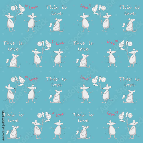 fototapeta na drzwi i meble Blue seamless pattern with mice love story