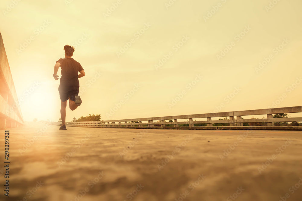Fototapety, obrazy: The man jogging in the evening for good health