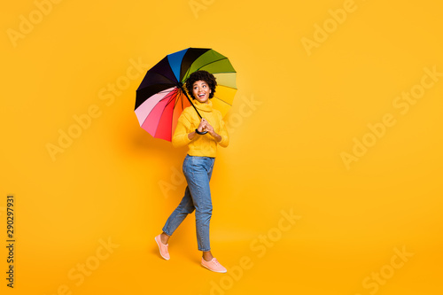 Best weekend vacation ever concept. Full body photo of ream dreamy careless carefree optimistic charming pretty lady walking down on streets holding open shield cane parasol isolated vivid background