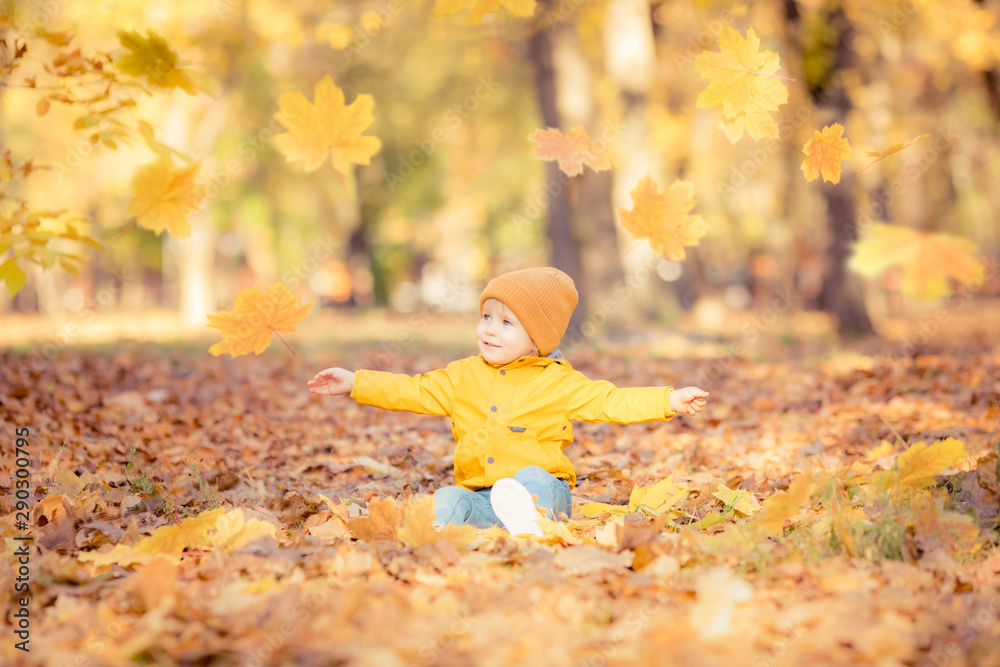 Fototapety, obrazy: Happy child having fun in autumn park