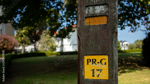 Fototapeta  Local walking route marker post PR G 17 in Cambre coruna Spain