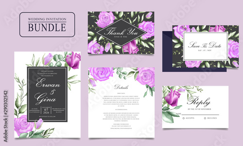 Canvas Print Wedding invitation card bundle with watercolor floral and leaves template