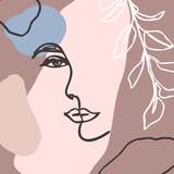 Minimalistyczny styl linii kobiecej twarzy. Streszczenie Współczesny kolaż o geometrycznych kształtach w nowoczesnym, modnym stylu. Wektor - 290303142