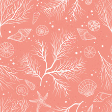 Beautiful Underwater Seamless Pattern, Hand Drawn Elegant Corals, Great For Fashion Prints, Wallpapers, Banners, Wrappings - Vector Surface Design