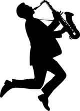 Saxophone Player Silhouette Ve...