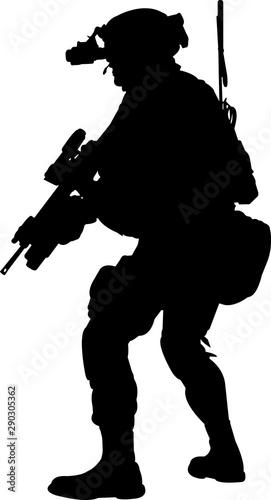 Cuadros en Lienzo Soldier Silhouette Vector