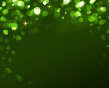 Abstract Colorful Bokeh Frame On Green Background.