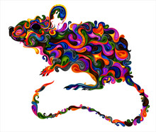 Symbol Of The New Year 2020. Beautiful Colored Vector Rat Made Of Patterns.