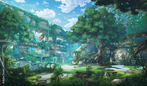 Photo sur Aluminium Bleu Fantasy Abandoned city