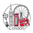 Vector illustration London, Great Britain in modern minimalist line style. Hand drawn doodle outline objects in circle frame. Big ben, street lamp, telephone box, double decker bus, observation wheel
