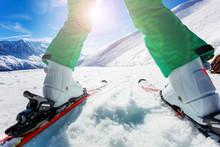 Ski Closeup Of A Boy Go Downhi...