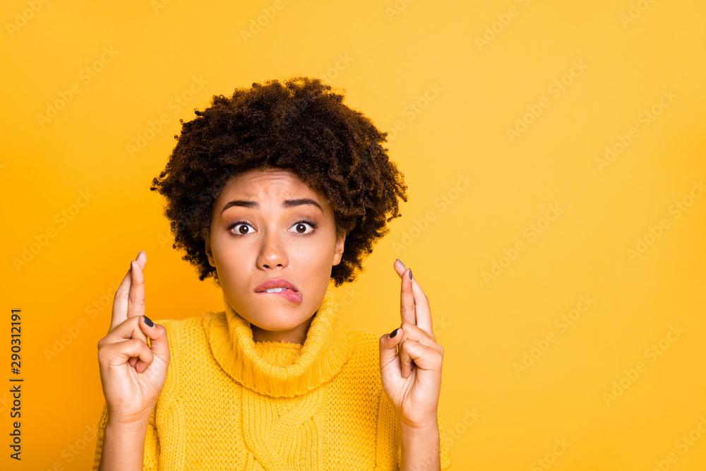 Fototapety, obrazy: Photo of dark skin lady crossing fingers afraid to fail final exam wear warm knitted pullover isolated yellow background