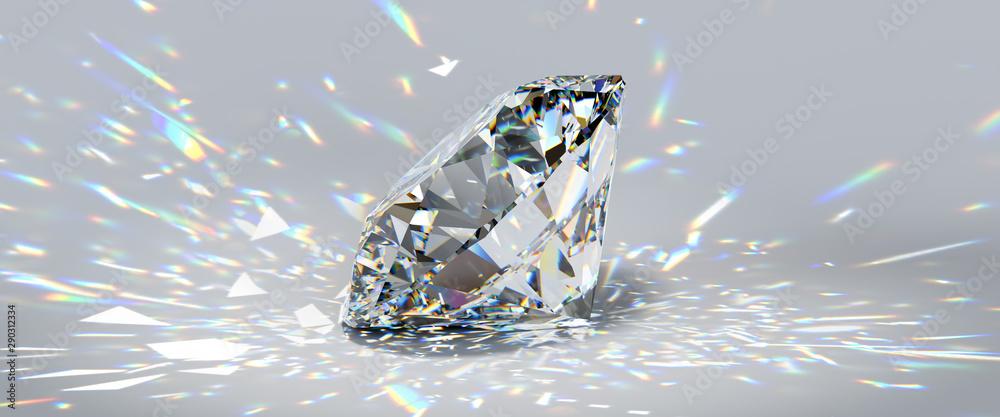 Fototapeta Round cut diamond on white background with colorful caustics rays.