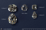 Four biggest Cullinan diamonds, Koh-i-Noor diamond with titles, on dark blue leather background.