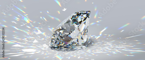 Fotomural  Round cut diamond on white background with colorful caustics rays