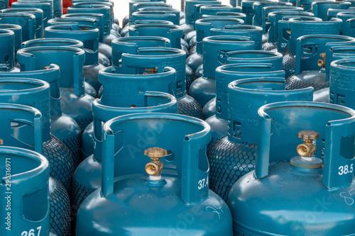 Fotomural  LPG gas bottle stack ready for sell, filling lpg gas bottle