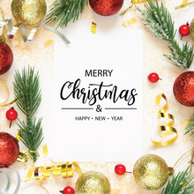 Inscription Merry Christmas And Happy New Year. Christmas Decorations. Holiday And Celebration Concept. Top View. - Image